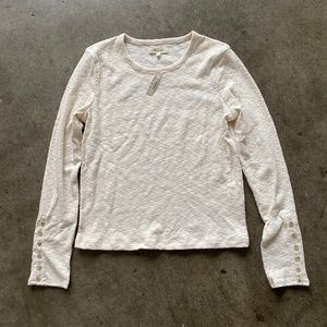 Madewell Ribbed Long Sleeve with Buttons on Sleeve